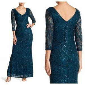 Marina Sequined Lace Gown - Color Jade Size 8
